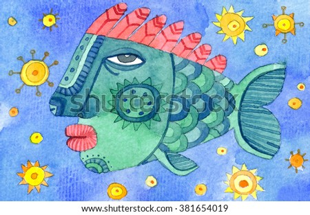 Hand painted fish with a human face. Watercolor illustration.