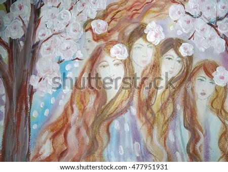 Hand painted five beautiful young girls with long brown hair near the spring blooming tree.