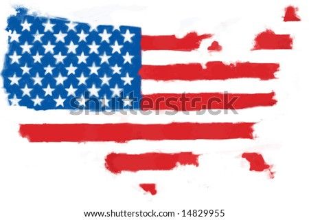 Hand painted flag in the shape of the USA. - stock photo