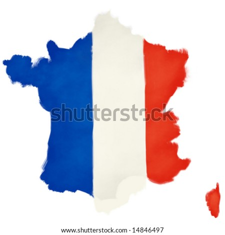 Hand painted flag of France shaped as the country. - stock photo