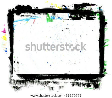 Hand Painted Grungy Frame, XL size, dirty surface - stock photo