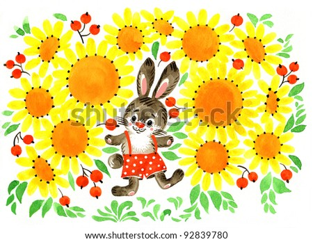 hand painted illustration: Bunny and Sunflowers
