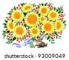 hand painted illustration: Bunny with bouquet - stock photo