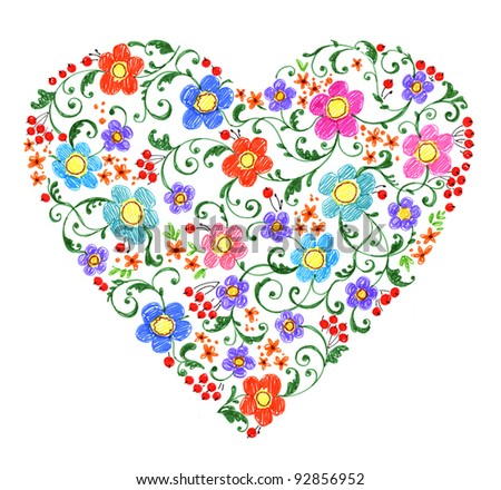hand painted illustration: Heart shape pattern