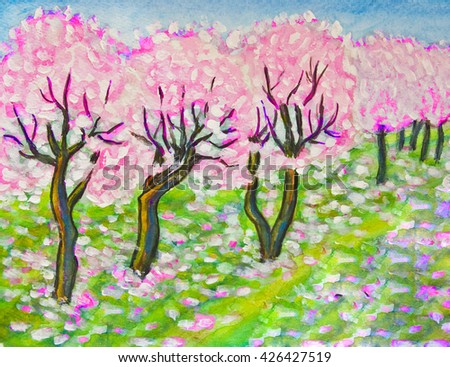 Hand painted illustration - spring landscape pink cherry garden in blossom.  - stock photo