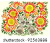 hand painted illustration: Two Bunnies in Garden - stock photo