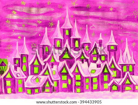 Hand painted illustration, watercolours, fairy town in pink colours, can be used as illustration for children's fairy tales, Christmas picture, etc.  - stock photo