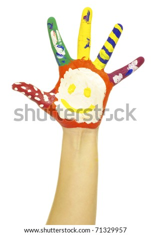 hand painted in colorful paints - stock photo