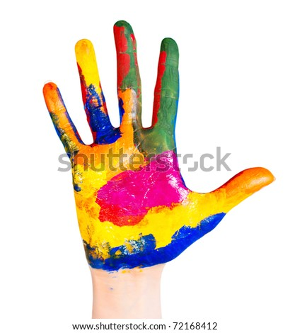 Hand painted in different colors on a white background - stock photo