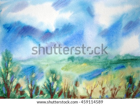 Hand painted in watercolor summer landscape with cloudy blue sky, green meadows with lakes and different trees.