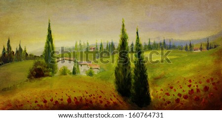 hand painted landscape with acrylics and oil paints - stock photo