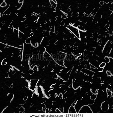 hand painted numbers over black background - stock photo