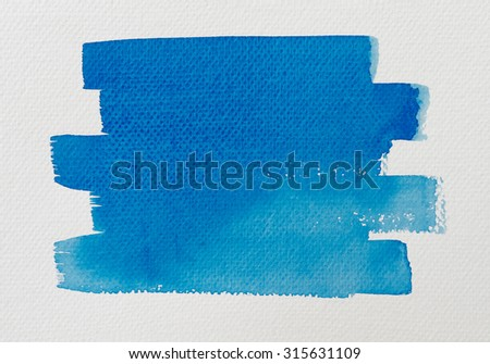 Hand painted of blue watercolor brush strokes background on white watercolor paper. - stock photo