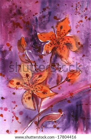 Hand painted orange lilies in violet background