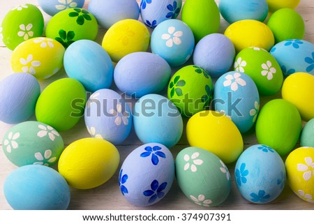 Hand-painted pastel colored Easter eggs background. Easter eggs. Easter. Easter background - stock photo
