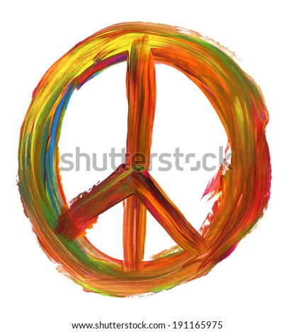 hand painted peace sign isolated on pure white background - stock photo