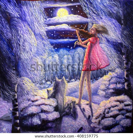 hand painted picture, night moon winter landscape, forest and a girl who plays the violin, wolves, who listen to music. Music in the forest.