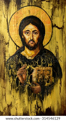 Hand painted picture of Jesus Christ Pantocrator styled on the old orthodox icon. - stock photo