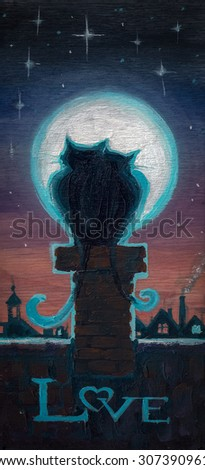 Hand painted picture of two cats in love hugging on chimney at night.