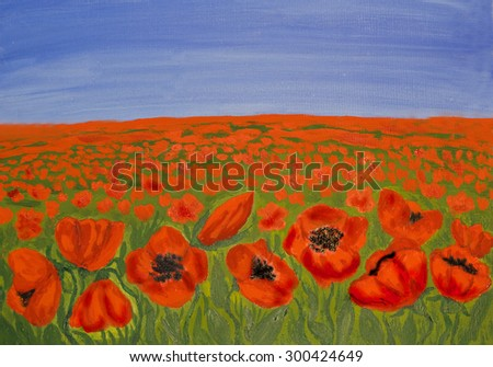 Hand painted picture, oil painting, meadow with many red poppies. - stock photo