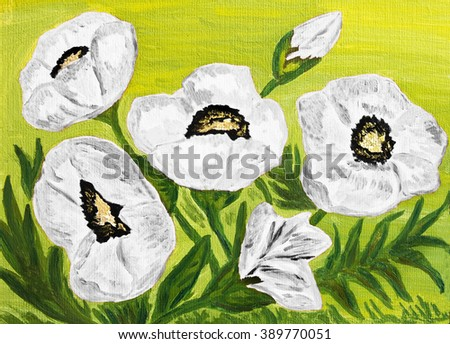 Hand painted picture, oil painting, red poppies.  - stock photo