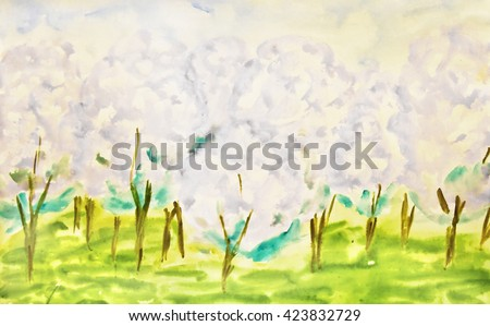 Hand painted picture, watercolor, apple garden in spring in blossom.  - stock photo