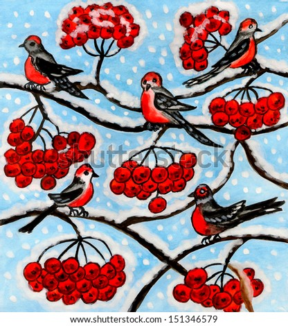 Hand painted picture, watercolours and gouache - bullfinch birds on ash tree (rowan tree) in winter. - stock photo