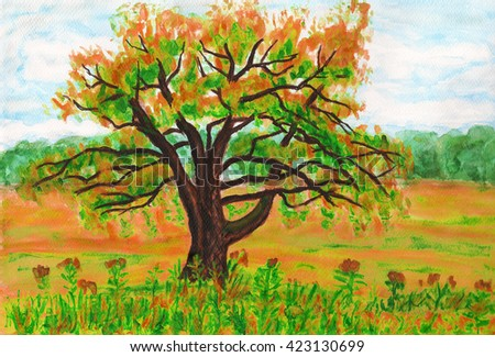 Hand painted picture watercolours - big Willow tree on green meadow.  - stock photo