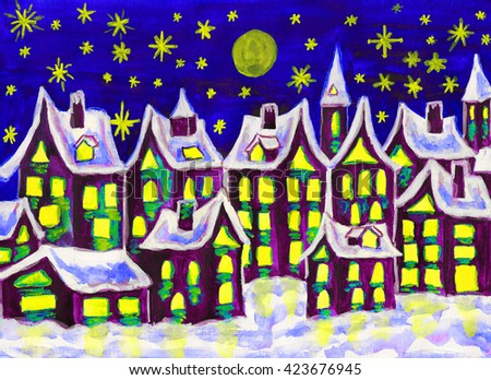 Hand painted picture, watercolours, dreamstown in lilac colours on dark blue sky in winter, can be used as illustration for books for children, fairy tales, Christmas pictures, etc.  - stock photo