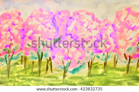 Hand painted picture, watercolours, pink apple garden in spring in blossom.  - stock photo