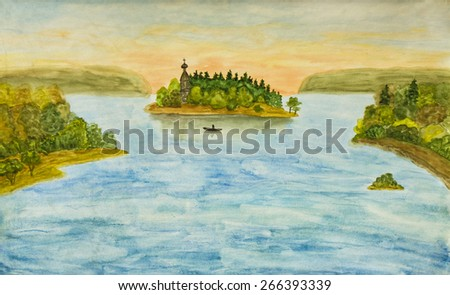 Hand painted picture, watercolours - Russian landscape with wooden church on little island on lake. - stock photo