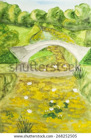 Hand painted picture, watercolours - summer landscape with bridge on river in park. - stock photo