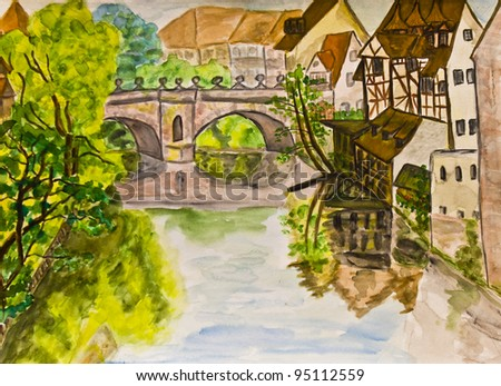 Hand painted picture, watercolours - town Nuremberg in Germany.