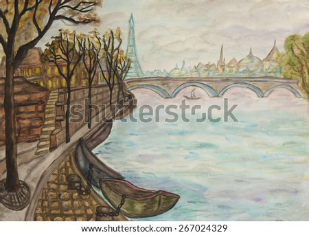 Hand painted picture, watercolours,view of Paris. - stock photo