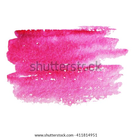 Hand painted pink watercolor background. Watercolor brush strokes.