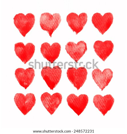 Hand painted red watercolor hearts isolated on white background - stock photo