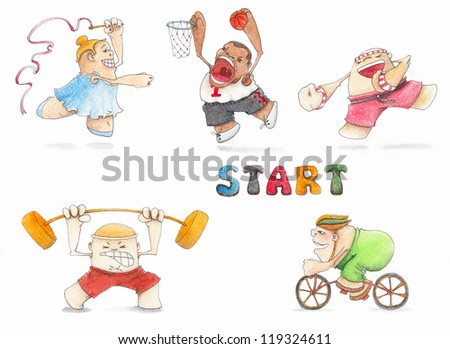Hand painted set of isolated fun sports mans in Olympic games colors - stock photo