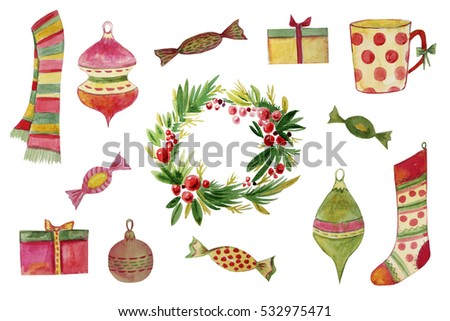 Hand painted set of the Christmas attributes - wreath,gifts,decorations,sweets,etc...