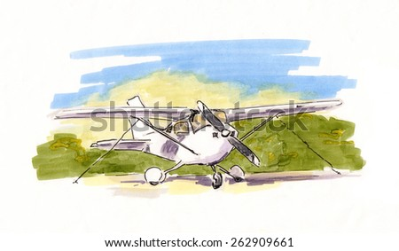 Hand painted sketch of small propeller plane - stock photo