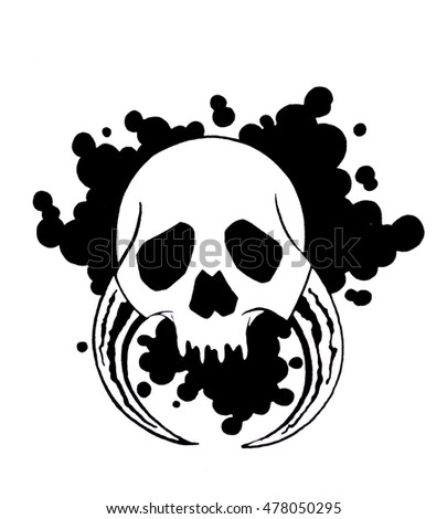 Hand -painted skull on white background. Image for tattoo