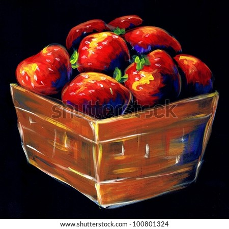 Hand-painted strawberries in a farmer's basket