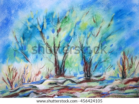 Hand painted summer landscape with green trees and blue sky.