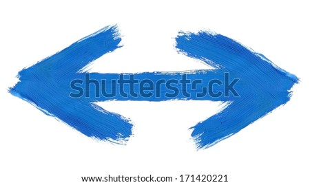 hand painted two way arrow isolated on pure white background, clearly visible traces of brush strokes - stock photo