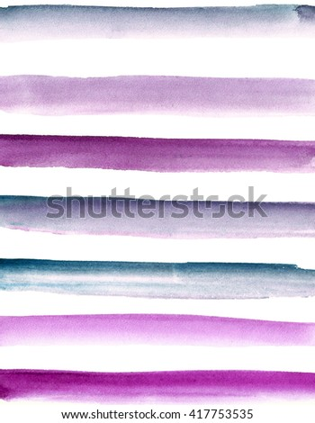 Hand painted watercolor background. Striped background, gradient. Blue, purple, pink.