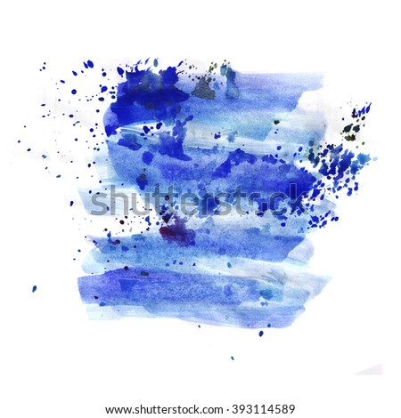Hand painted watercolor background. Watercolor wash.white, blue
