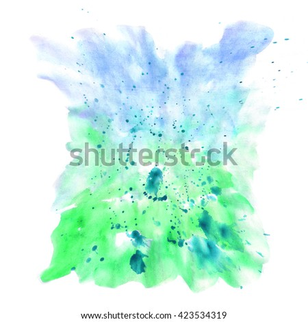 Hand painted watercolor background. Watercolor wash.white, blue, green, acid