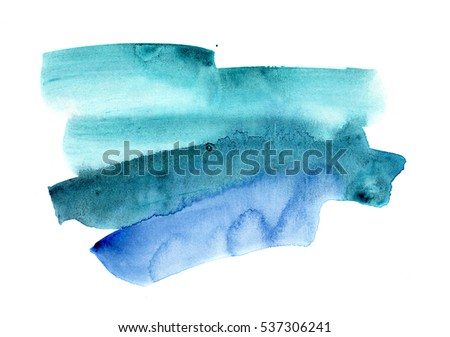 hand painted watercolor blot in blue and green shades, isolated on white, perfect background for trendy design