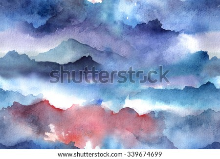 Hand painted Watercolor bright seamless pattern with abstract mountains, clouds. - stock photo