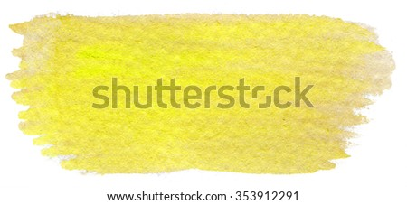 Hand painted watercolor brush stroke abstract yellow   background on textured paper