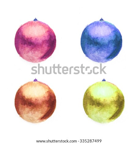 Hand painted watercolor Christmas ornaments on white background. Decorative Christmas background image.